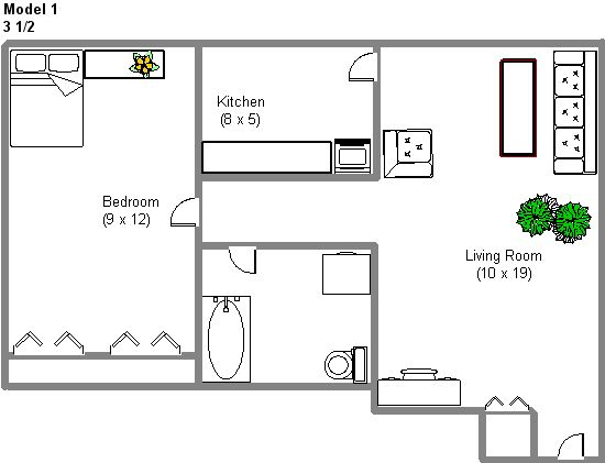 Appartement 1 Chambre a louer à Montréal (Centre-Ville) a 2150 Mackay - Plan 01 - TrouveUnAppart – L3742