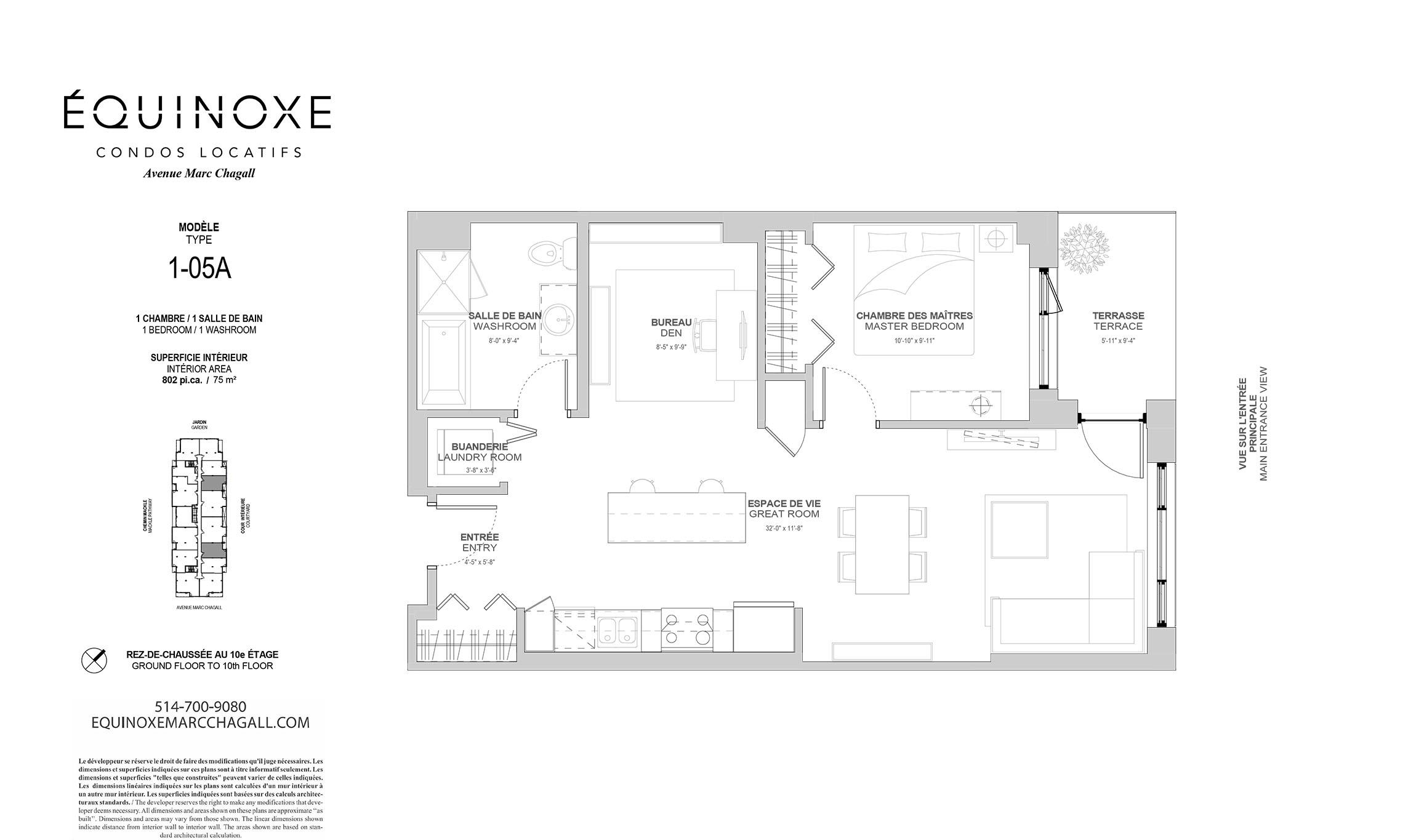 Condo 1 Chambre de luxe a louer à Côte-Saint-Luc a Collection Equinoxe - Marc Chagall - Plan 01 - TrouveUnAppart – L293824