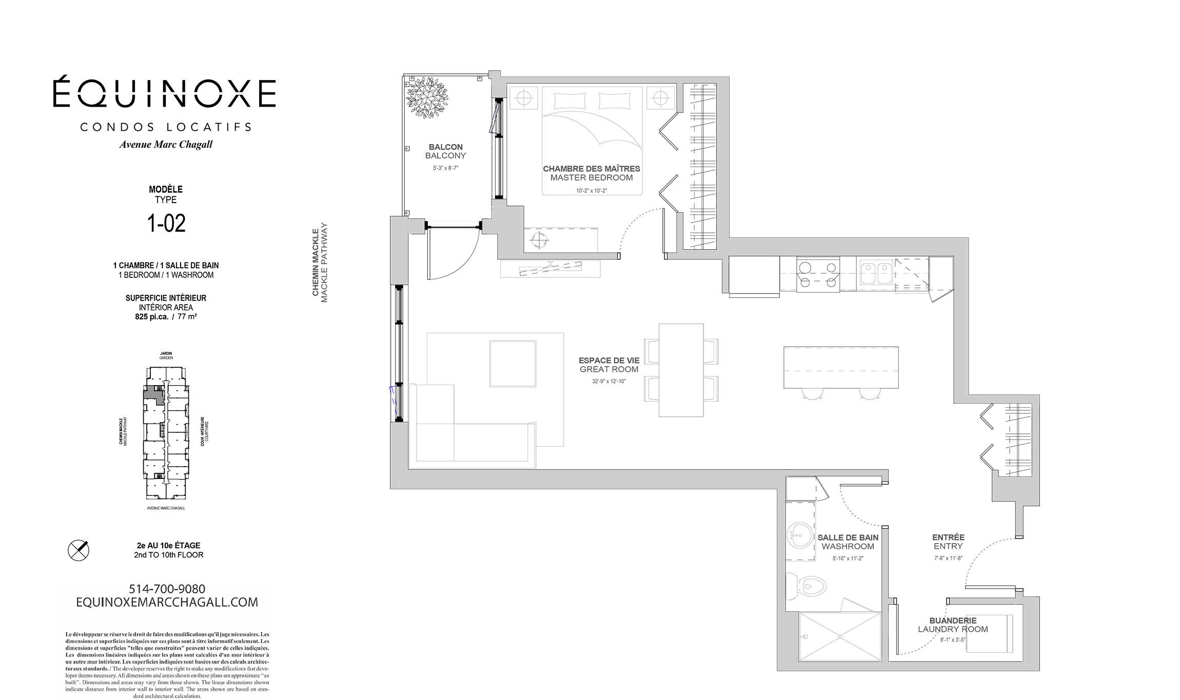 Condo 1 Chambre de luxe a louer à Côte-Saint-Luc a Collection Equinoxe - Marc Chagall - Plan 01 - TrouveUnAppart – L293821