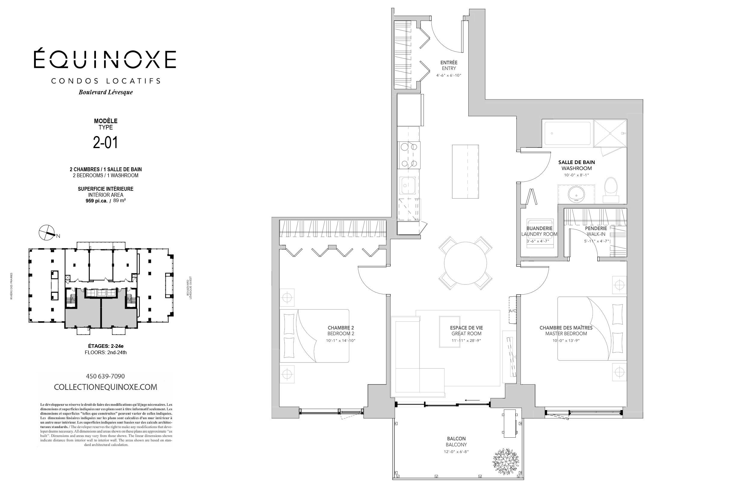Condo 2 Chambres de luxe a louer à Laval a Collection Equinoxe - Levesque - Plan 01 - TrouveUnAppart – L351127