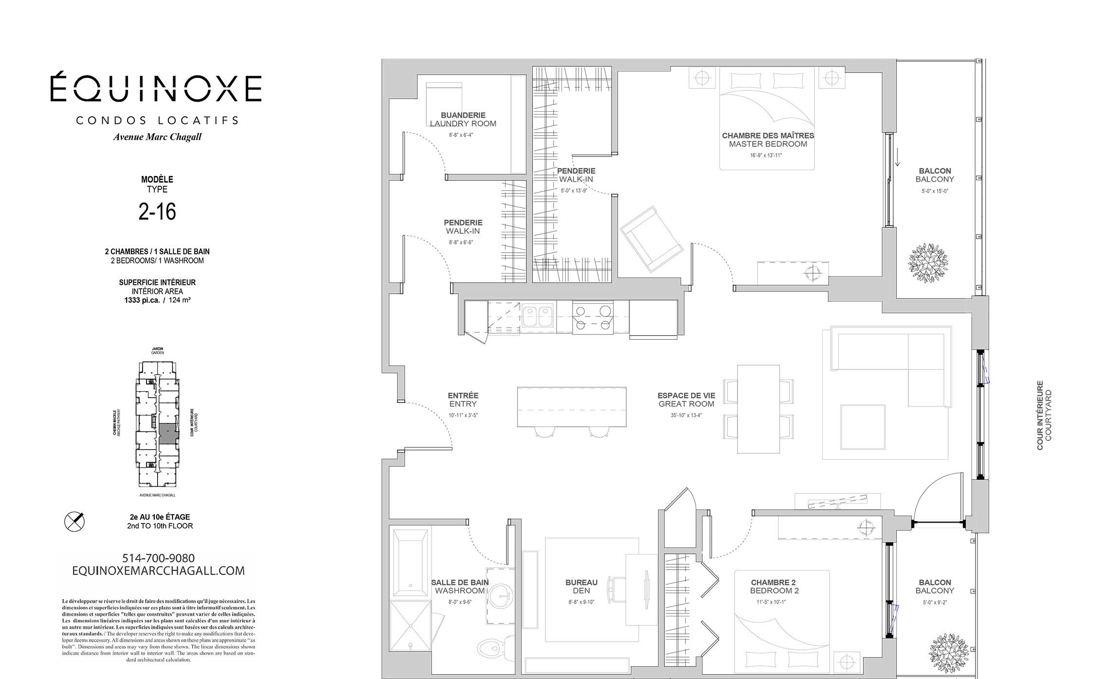 Condo 2 Chambres de luxe a louer à Côte-Saint-Luc a Collection Equinoxe - Marc Chagall - Plan 01 - TrouveUnAppart – L293822