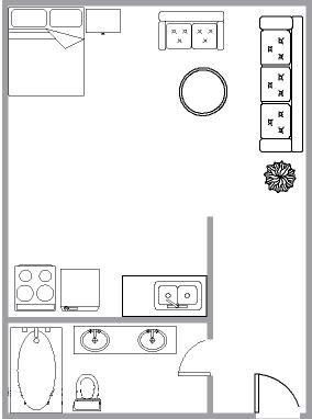 Appartement Studio / Bachelor a louer à Montréal (Centre-Ville) a 1650 Lincoln - Plan 01 - TrouveUnAppart – L3736