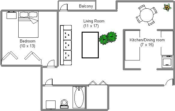 Appartement 1 Chambre a louer à Ville-Lasalle a 3125 Des Trinitaries - Plan 01 - TrouveUnAppart – L6453