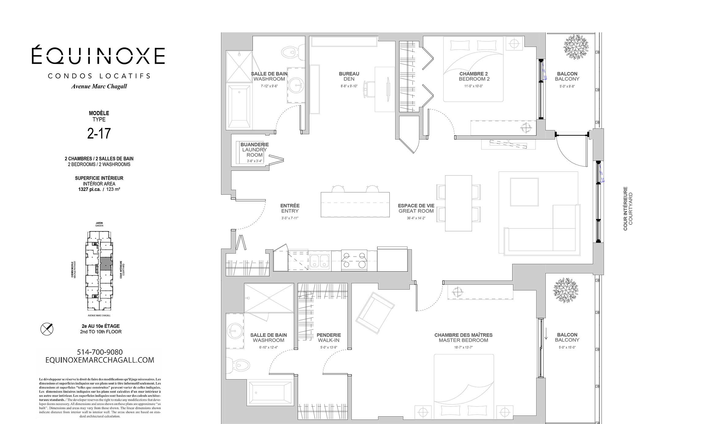 Condo 2 Chambres de luxe a louer à Côte-Saint-Luc a Collection Equinoxe - Marc Chagall - Plan 01 - TrouveUnAppart – L293825