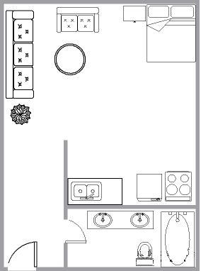 Appartement Studio / Bachelor a louer à Montréal (Centre-Ville) a 3687 Clark - Plan 01 - TrouveUnAppart – L6442