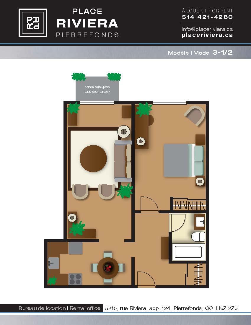 Appartement 1 Chambre a louer à Pierrefonds-Roxboro a Place Riviera - Plan 01 - TrouveUnAppart – L35788