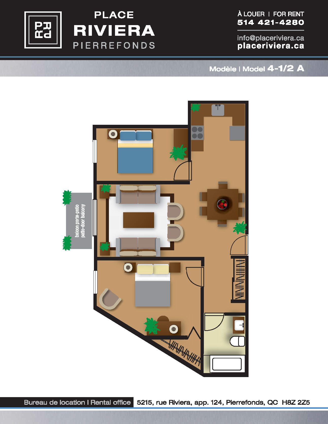 Appartement 2 Chambres a louer à Pierrefonds-Roxboro a Place Riviera - Plan 01 - TrouveUnAppart – L35796