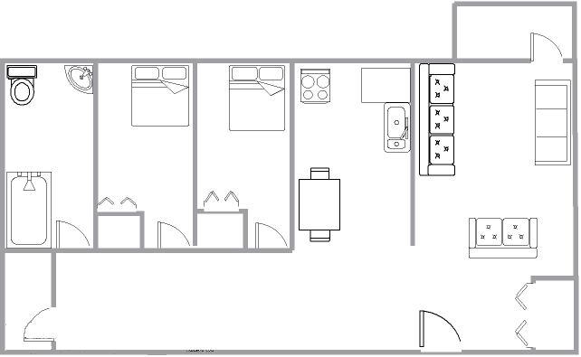 Appartement 2 Chambres a louer à Montréal (Centre-Ville) a 1650 Lincoln - Plan 01 - TrouveUnAppart – L3738