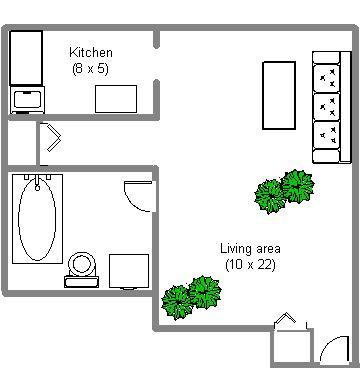 Appartement Studio / Bachelor a louer à Montréal (Centre-Ville) a 2150 Mackay - Plan 01 - TrouveUnAppart – L3741