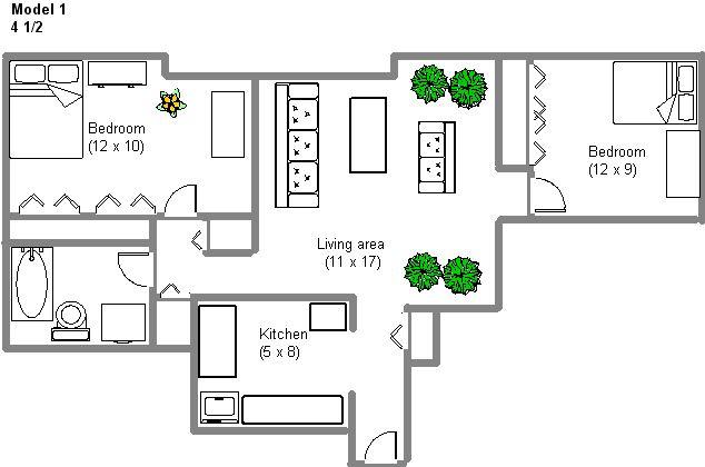Appartement 2 Chambres a louer à Montréal (Centre-Ville) a 2150 Mackay - Plan 01 - TrouveUnAppart – L3743