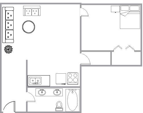 Appartement 1 Chambre a louer à Montréal (Centre-Ville) a 1650 Lincoln - Plan 01 - TrouveUnAppart – L3737